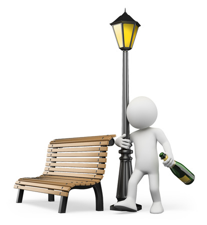 3D 백인. 술에 취해 샴페인 병으로 가로등 기둥을 포옹. 격리 된 흰색 배경.