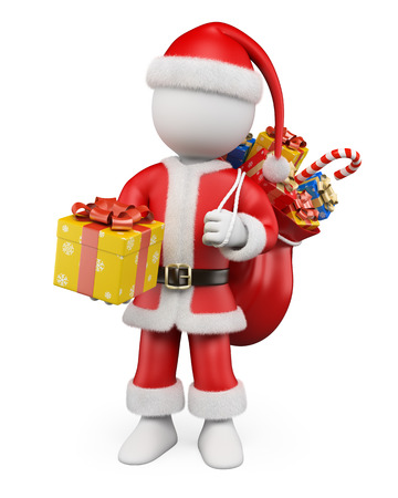 3d white christmas people. Santa Claus with a gift and his sack. Isolated white background. photo