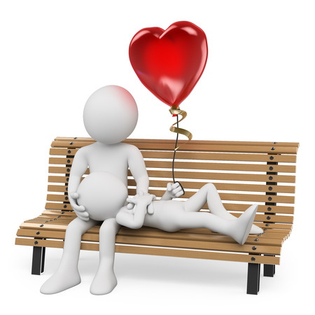 3d white people. Couple in love on a park bench with a heart shaped balloon. Isolated white background.