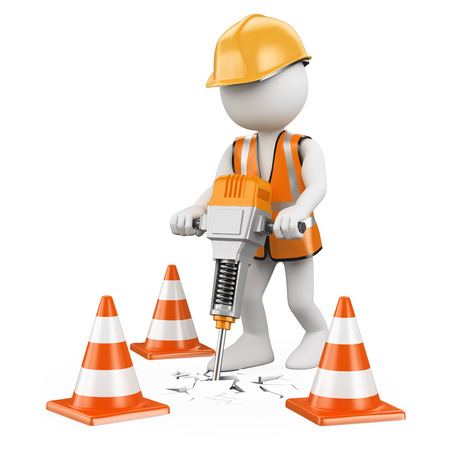 hammers: 3d white people. Worker with a jackhammer working on a construction. Isolated white background.