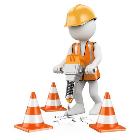 3d witte mensen. Werknemer met een drilboor werken aan een constructie. Geïsoleerde witte achtergrond. Stockfoto