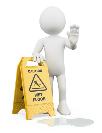 wet: 3d white people. Man with a caution wet floor sign. Isolated white background.