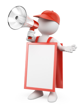 blank board: 3d white people. Blank sandwich board man with a megaphone. Isolated white background.