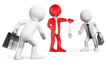 3D 흰색 사람들은 유. 손수건과 승리를 얻을 사람을 확인하기 위해 경쟁하는 사업 사람들. 격리 된 흰색 배경.