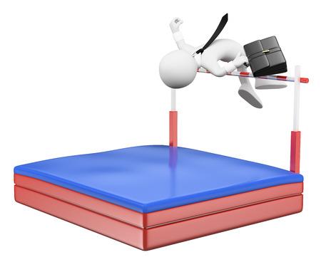 3D 백인. 높은 점프에서 경쟁하는 사업가. 극복. 격리 된 흰색 배경.