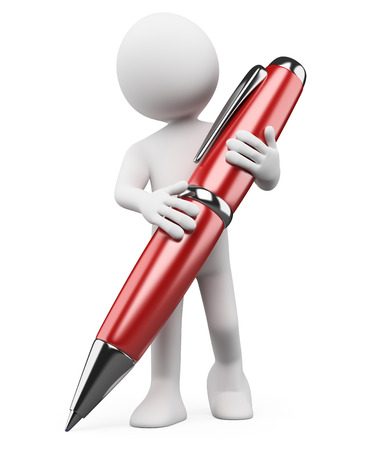 3d white people. Man writing with a red ballpoint pen. Isolated white background.