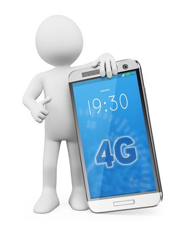 3D 백인. 최신 기술의 4G LTE 모바일을 가진 사람입니다. 격리 된 흰색 배경.