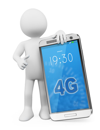 3d white people. Man with a latest technology 4G LTE mobile. Isolated white background. photo
