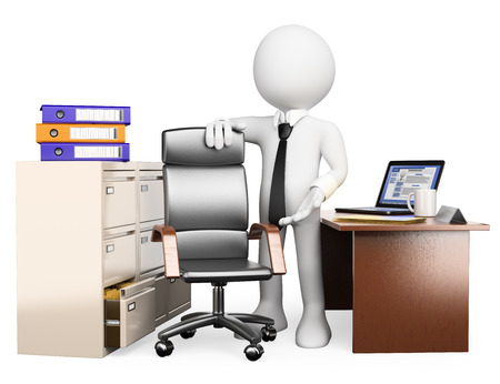3d white people. You are hired. Manager welcoming the company. Isolated white background. photo
