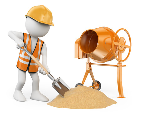 3d white people. Construction worker with a shovel and a concrete mixer making cement . Isolated white background.  Stok Fotoğraf