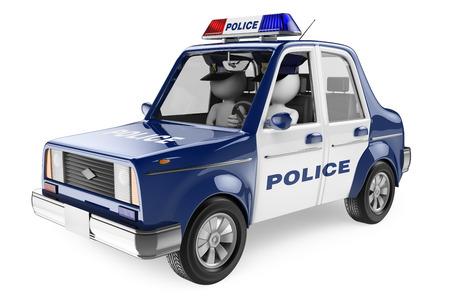 3D 백인. 경찰 차에 순찰 경찰관. 격리 된 흰색 배경.