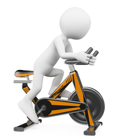 3d white people. Man in a gym doing spinning on a bike. Isolated white background.  Stock Photo