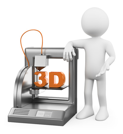 3d white people. 3D printer fused deposition working. Isolated white background. Stock Photo - 24634653