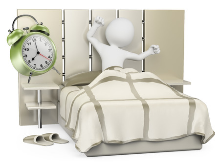 3d white people. Man waking up in the morning to go to work. Isolated white background.  版權商用圖片