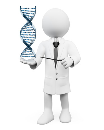 dna strand: 3d white people. Geneticist showing a DNA strand. Isolated white background.