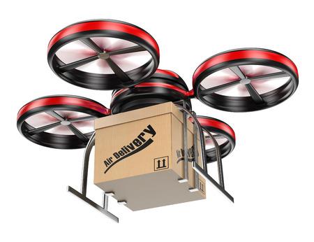 concepto: Drone 3D entrega de un paquete. Servicio de entrega de paquetes. Fondo blanco aislado.