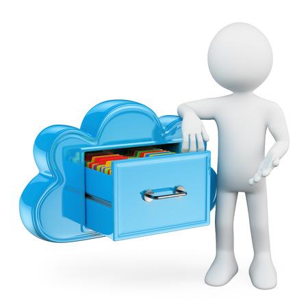 3d gente blanca. Servicios de almacenamiento en la nube. Mantener las carpetas en la nube como un archivador. Metáfora tecnológica. Fondo blanco aislado.