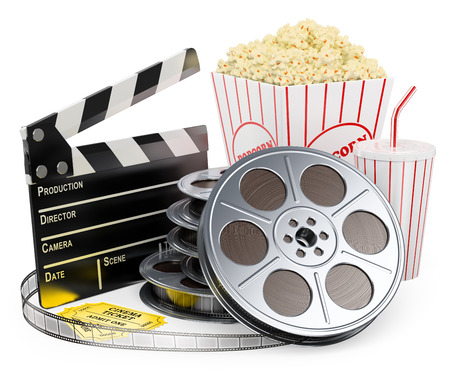 Films: Cinema clapper film reel drink popcorn and tickets. Isolated white background.