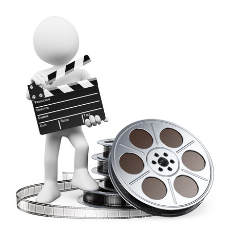 filmregisseur: Filmregisseur met Filmklapper en filmrollen. Geïsoleerde witte achtergrond.