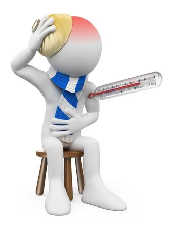 3d blanc Homme à la grippe avec un thermomètre et une bouteille d'eau chaude sur la tête. Isolé sur fond blanc. Banque d'images