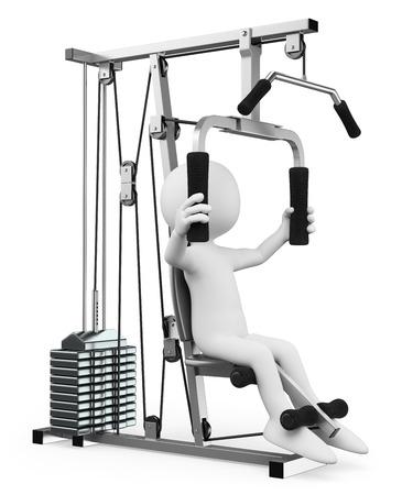 무게 머신에서 운동 체육관에서 3D 백인 남자. 격리 된 흰색 배경.