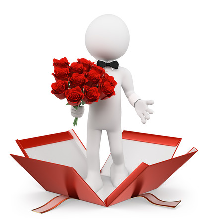 spouse: 3d white Man with a bouquet of roses coming out of a gift. Isolated white background.