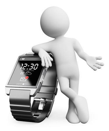 phone time: 3d white people. New technologies. Smart watch. Isolated white background.  Stock Photo