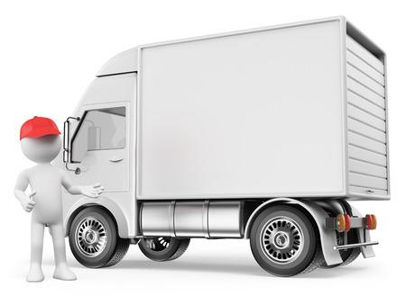 3 d の白人の人々。カスタム テキストの準備ができている空白の辺を持つ白の配達用トラック