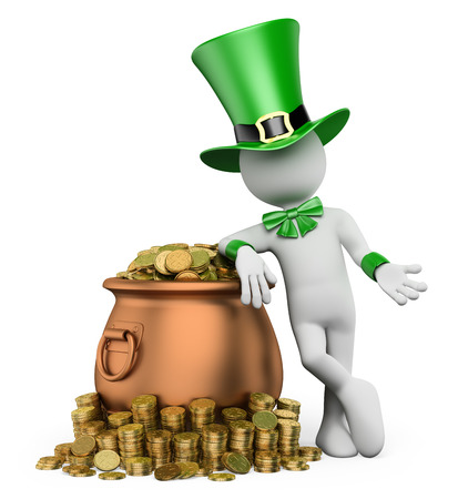full day: 3d white people. St patricks day. Leprechaun with pot with gold coins. Isolated white background.