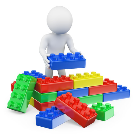 3d white people. Man building a house with plastic toy blocks. Isolated white background.