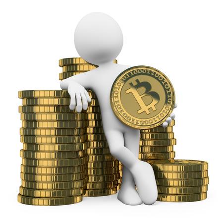 3D 백인. bitcoins의 더미에 기대어 남자. 격리 된 흰색 배경. 스톡 콘텐츠 - 26043340