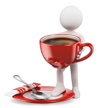 3d witte mensen. Kopje koffie met een lepel en suiker zakje. Geïsoleerde witte achtergrond.