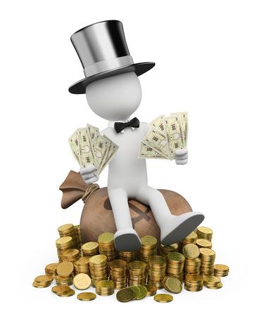 rich man: 3d gente blanca. Hombre rico con billetes sentado en un saco de dinero. Fondo blanco aislado. Foto de archivo