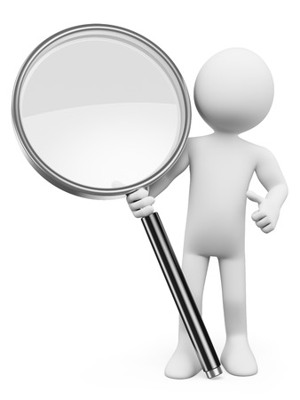 3d white people. Magnifying glass. Search concept. Isolated white background.