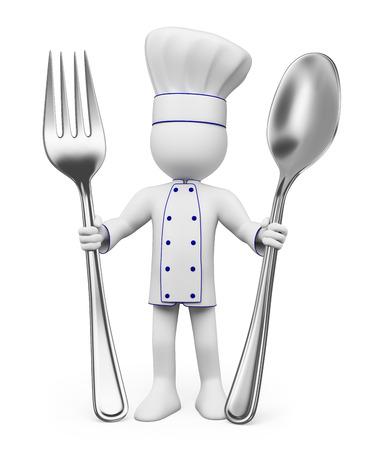 3 차원 흰색 명. 숟가락과 포크 요리사. 격리 된 흰색 배경. 스톡 콘텐츠 - 26043346