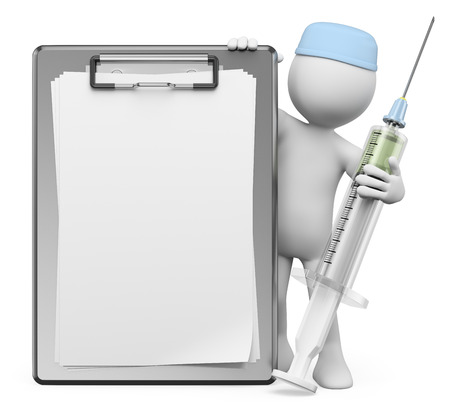 3d white people. Nurse with syringe and blank clipboard. Isolated white background. photo