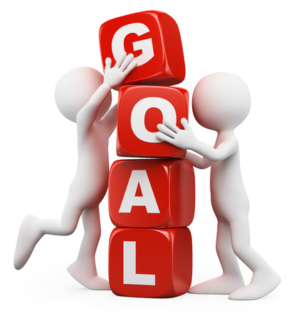 3d white people. Men stacking cubes with the word goal. Isolated white background. photo