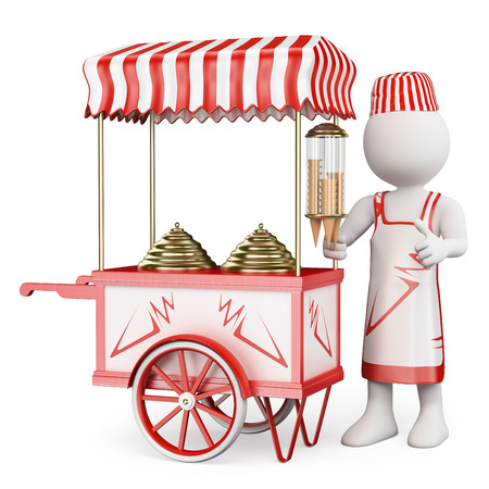 3d white people. Ice cream vendor with a traditional ice cream cart. Isolated white background. photo