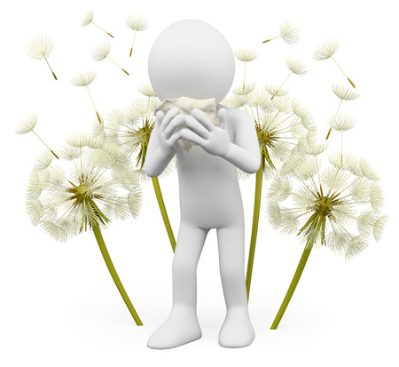 3d white people. Spring allergies. Dandelion. Isolated white background. photo