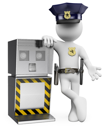 3d white people. Policeman with a traffic speed radar. Isolated white background. photo