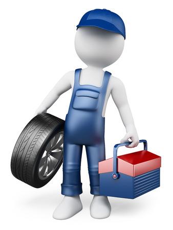 3D 백인. 타이어와 도구 상자 자동차 정비사. 격리 된 흰색 배경. 스톡 콘텐츠