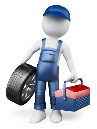 3d white people. Car mechanic with a tire and a toolbox. Isolated white background.  photo
