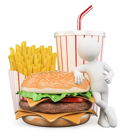 食べ物: 3 d の白人の人々。ファーストフード。ハンバーガーとフライド ポテトと飲み物。孤立した白い背景。 写真素材
