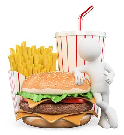 comida: Pessoas brancas 3d. Fast food. Hamburger com batatas fritas e bebida. Fundo branco isolado.