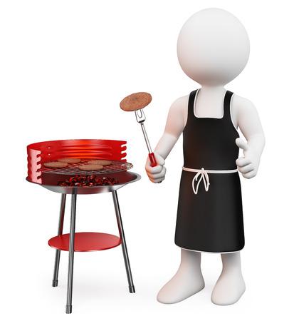 muž: 3d bílí lidé. Barbecue. Izolované bílém pozadí.