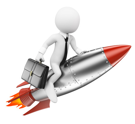 booster: 3d white people. Businessman on a rocket. Achieve the objectives concept. Isolated white background.