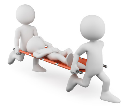 3d white people. Doctors carrying an injured on a stretcher. Isolated white background.  Stock Photo