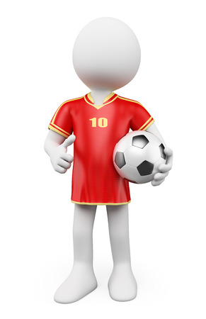 3d white people. Soccer World Cup player. Red jersey. photo