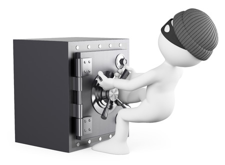 felony: 3d white people. Robber stealing a safe. Isolated white background.