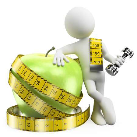 alimentacion sana: 3d gente blanca. Bajar de peso con el deporte y la comida sana. Fondo blanco aislado.